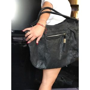 Foley and corrina black leather satchel